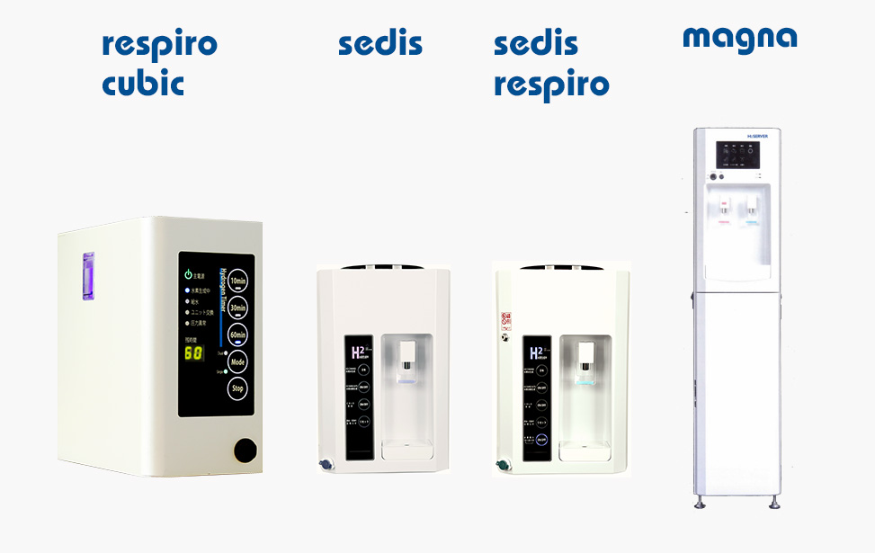 Complete line up of hydrogen water servers and dispensers